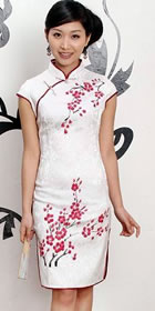 Cup-sleeve Short-length Hand-Painting Plum Blossoms Cheongsam (RM)
