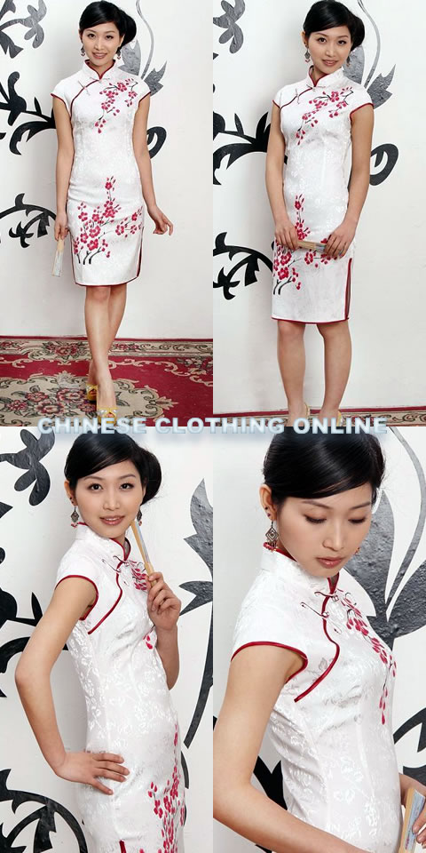 Cup-sleeve Short-length Hand-Painting Plum Blossoms Cheongsam (RM)