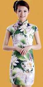 碗袖短身荷花旗袍 (成衣)