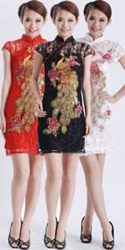 碗袖短身鳳凰刺繡蕾絲旗袍 (成衣)