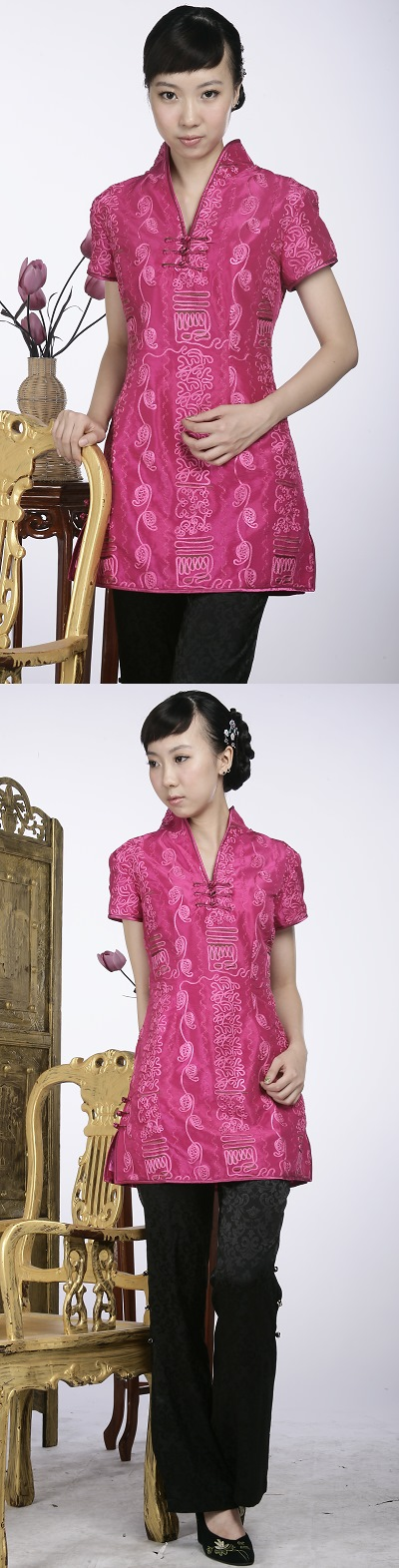 Short-sleeve Embossed Embroidery Mini Cheongsam Dress (Fuchsia)