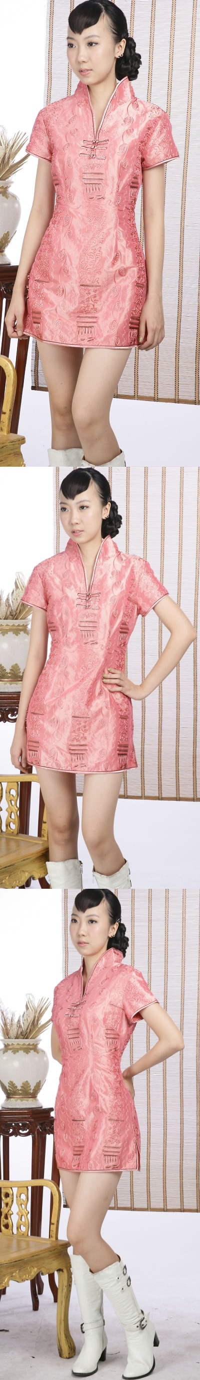 Short-sleeve Embossed Embroidery Mini Cheongsam Dress (Orange)