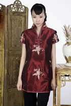 Short-sleeve Floral Embroidery Mini Cheongsam Dress (Maroon)