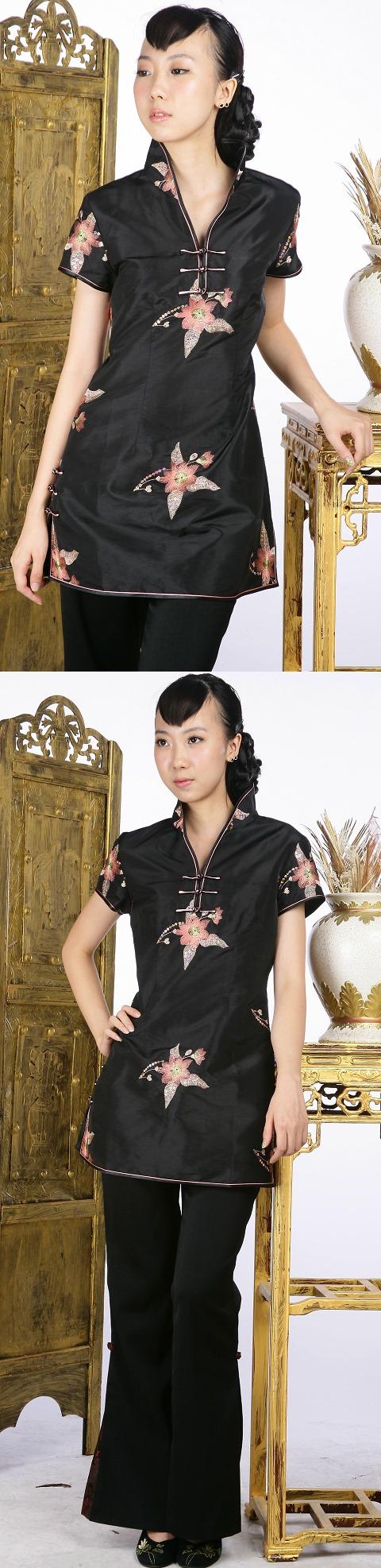 亮片繡花短袖短旗袍(黑色)