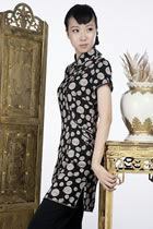 Short-sleeve Printed Pattern Cheongsam Dress (Black)