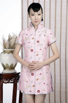 Short-sleeve Floral Embroidery Mini Cheongsam Dress (Pink)