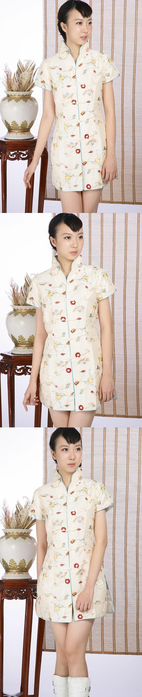 浮雕繡花短袖短旗袍(米金)