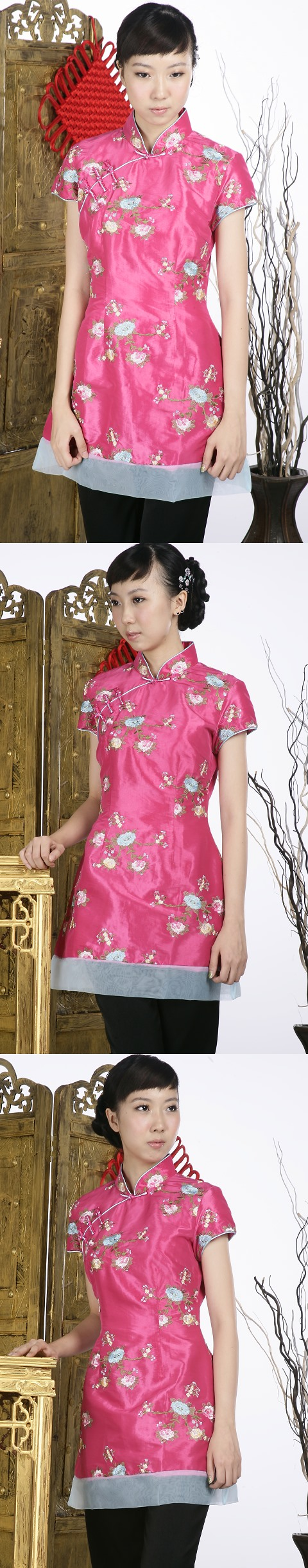 Short-sleeve Floral Embroidery Mini Cheongsam Dress (Fuchsia)