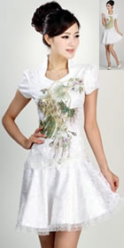 Cup-sleeve Short-length Phoenix Embroidery Dress (RM)