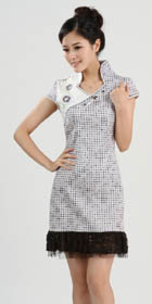 Cup-sleeve Short-length Patching Embroidery Dress (RM)