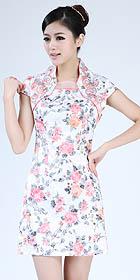 Cuff-sleeve Short-length Embroidery Dress (RM)
