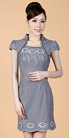 Puff-sleeve Short-length Embroidery Dress (RM)