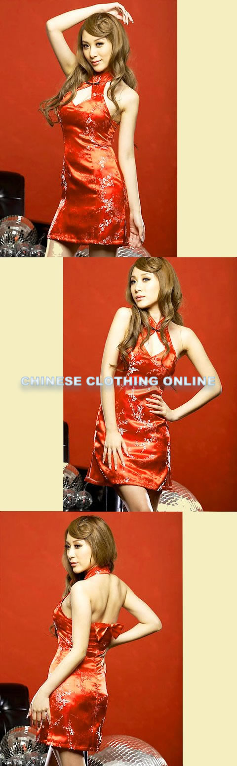 Cut-in Shoulders Bareback Short-length Cheongsam (CM)