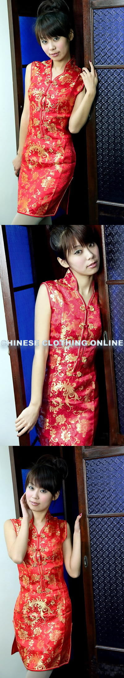 V-neckline Sleeveless Short-length Cheongsam (CM)