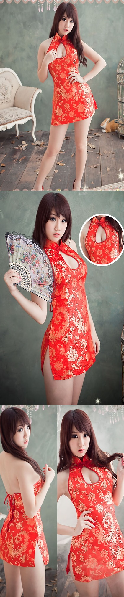 Cut-in Shoulders Bareback Short Sexy Cheongsam (CM)