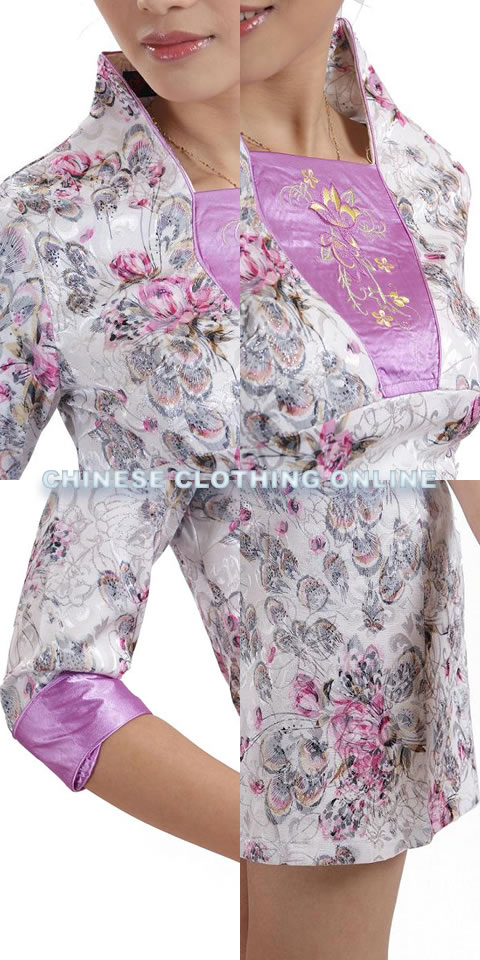Elbow-sleeve Short-length Embroidery Cheongsam (RM)