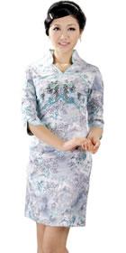 中袖短身繡花旗袍 (成衣)