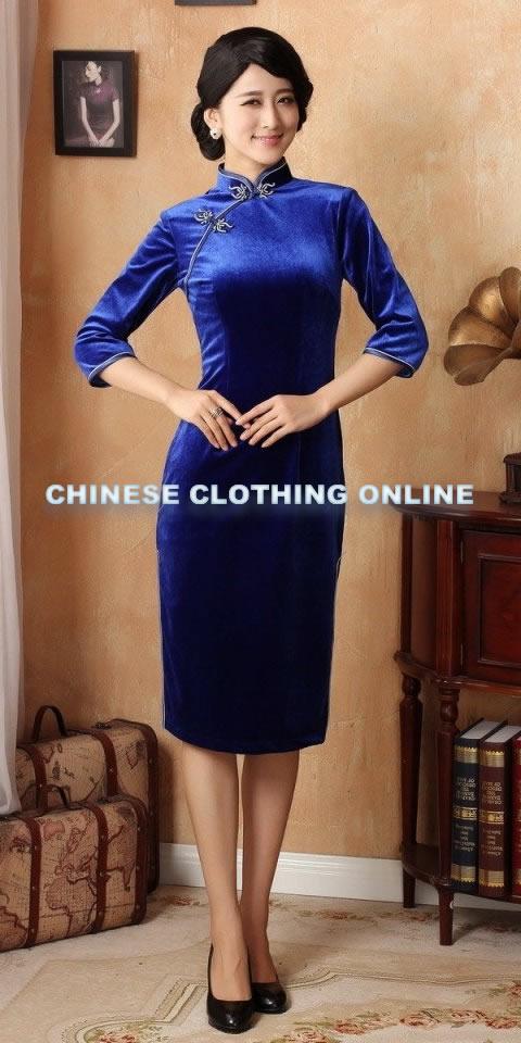 3/4-sleeve Mid-length Cheongsam (CM)