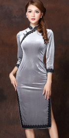 3/4-sleeve Lace-piping Mid-length Cheongsam (CM)