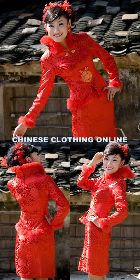 Long-sleeve Mid-length Wadded Cheongsam Suit (RM)