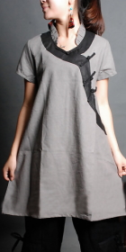 Ethnic Short-sleeve Archaized Loose Dress (CM)