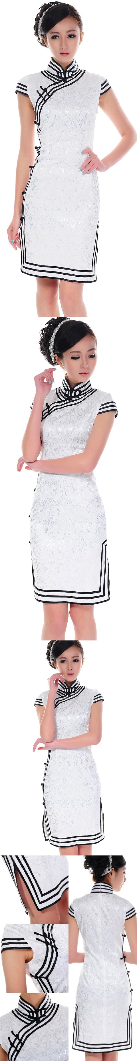 Cup-sleeve Mid-length Triple-piping Cheongsam (CM)