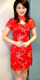 Short-sleeve Triangle-opening Mid-length Cheongsam (CM)