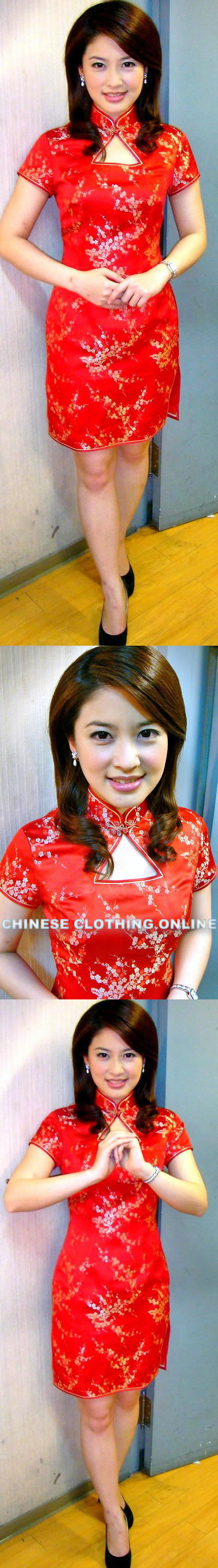 Short-sleeve Triangle-opening Mid-length Cheongsam (CM)