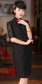 Elbow-sleeve Mid-length Cheongsam (CM)