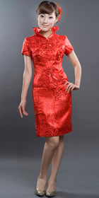 Short-sleeve Mid-length Cheongsam Suit (RM)