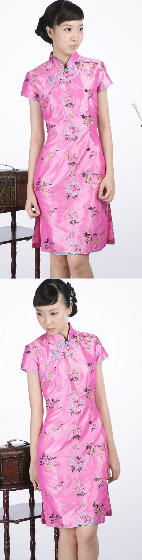 Short-sleeve Floral Embroidery Midi Cheongsam Dress (Pink)