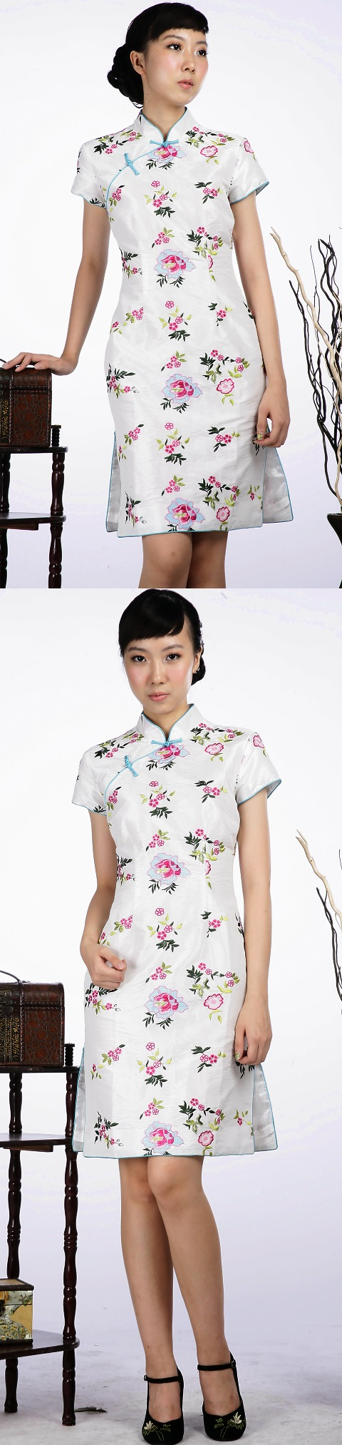 Short-sleeve Floral Embroidery Midi Cheongsam Dress (White)