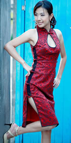Cut-in Shoulders Mid-length Cheongsam (CM)