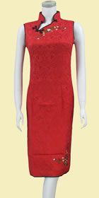 Bargain - Sleeveless Embroidery Midi Jacquard Cheongsam Dress (Red)