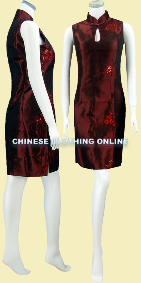 Sleeveless Embroidery w/ Paillettes Midi Thai Silk Cheongsam Dress (RM)