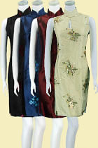 Bargain - Sleeveless Embroidery w/ Paillettes Midi Thai Silk Cheongsam Dress (RM)