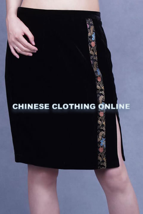 Side-slit Short Velvet Skirt (CM)