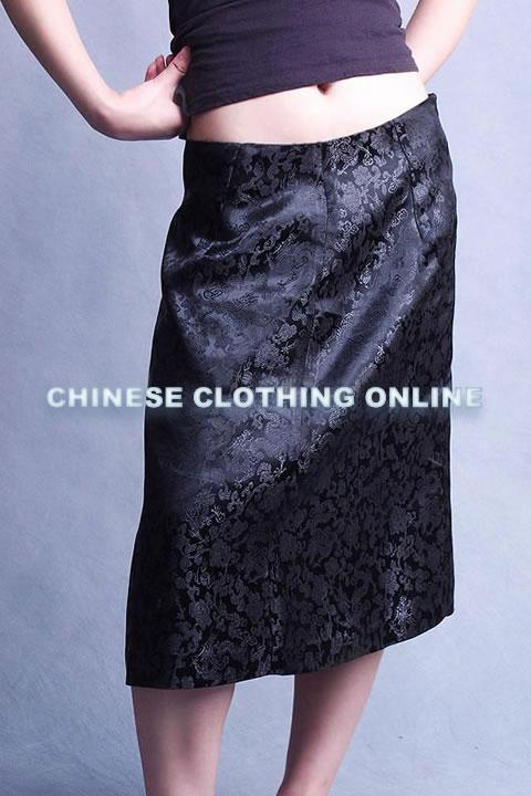 Cheongsam Style Mid-length Embroidery Skirt (CM)