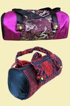 真絲織錦緞圓筒手提包