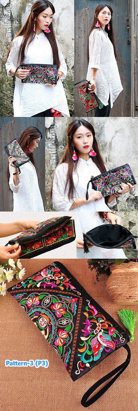 Ethnic Embroidery Clutch-bag