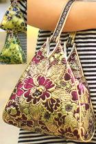 Triangle Flower Brocade Handbag (Multicolor)
