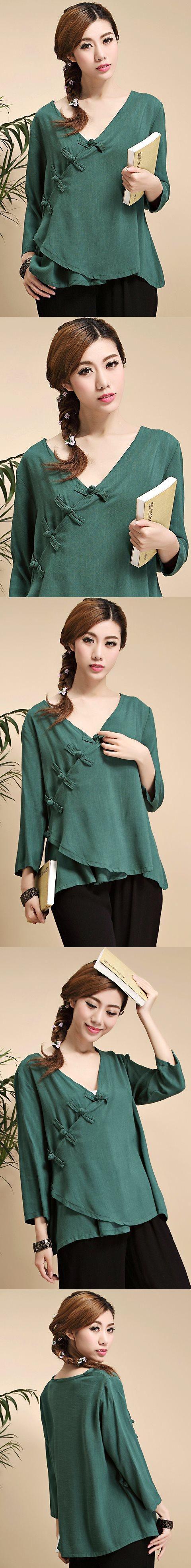 Long-sleeve Chinese Ethnic Linen Blouse (Ready-Made)