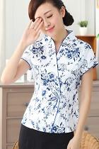 Short-sleeve Floral Mandarin Blouse (RM)