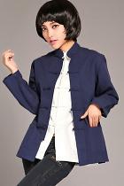 Mandarin Plain Cotton Long-sleeve Blouse (RM)