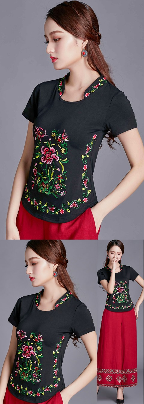 Short-sleeve Chinese Ethnic Embroidery Cotton Blouse (Ready-Made)