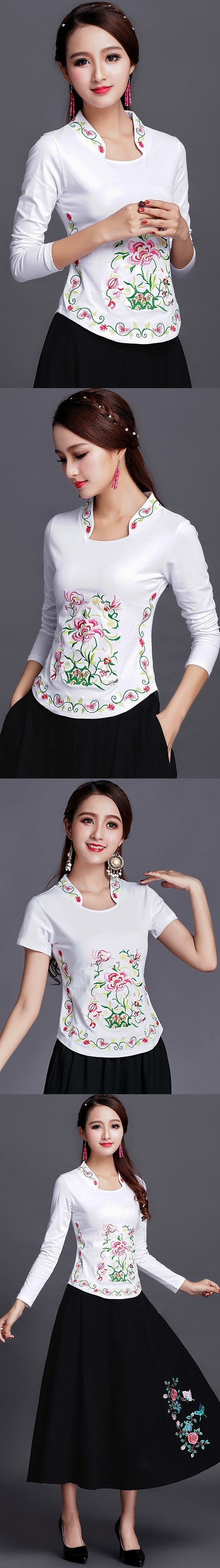 Long-sleeve Chinese Ethnic Embroidery Cotton Blouse (Ready-Made)