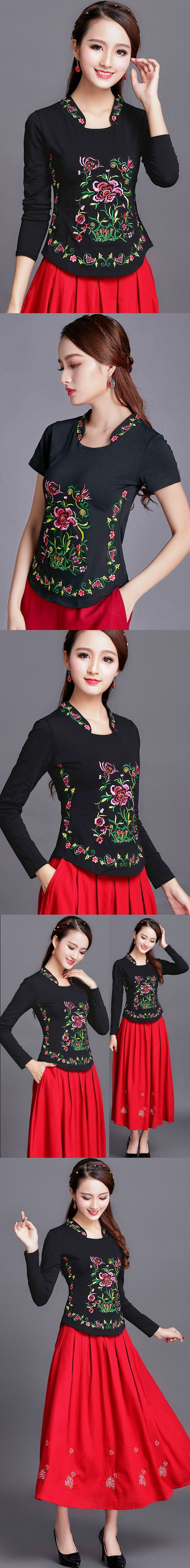 長袖民族風花卉刺繡棉質上衣(成衣)