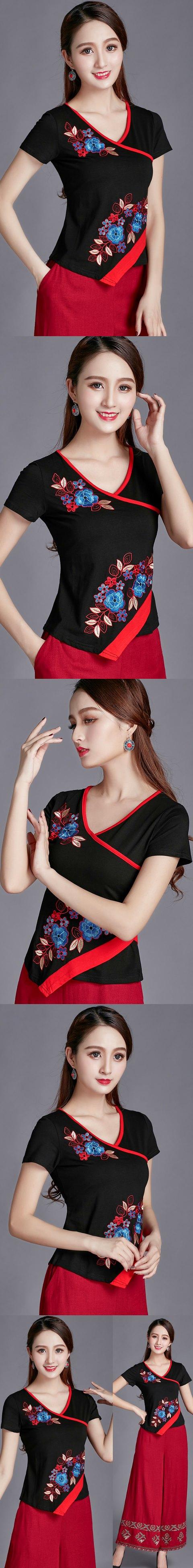 短袖民族風花卉刺繡棉質上衣(成衣)