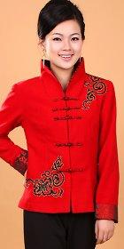 Mandarin Long-sleeve Embroidery Jacket (Ready-Made)