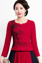 Exquisite Ethnic Cotton Linen Embroidery Blouse (RM)
